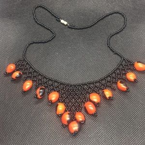 Vintage Sexy Beaded Red Black Necklace
